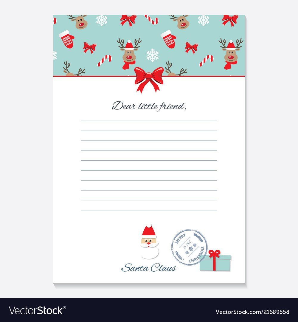 Christmas Letter From Santa Claus Template Vector Image Intended For Letter From Santa Claus Template