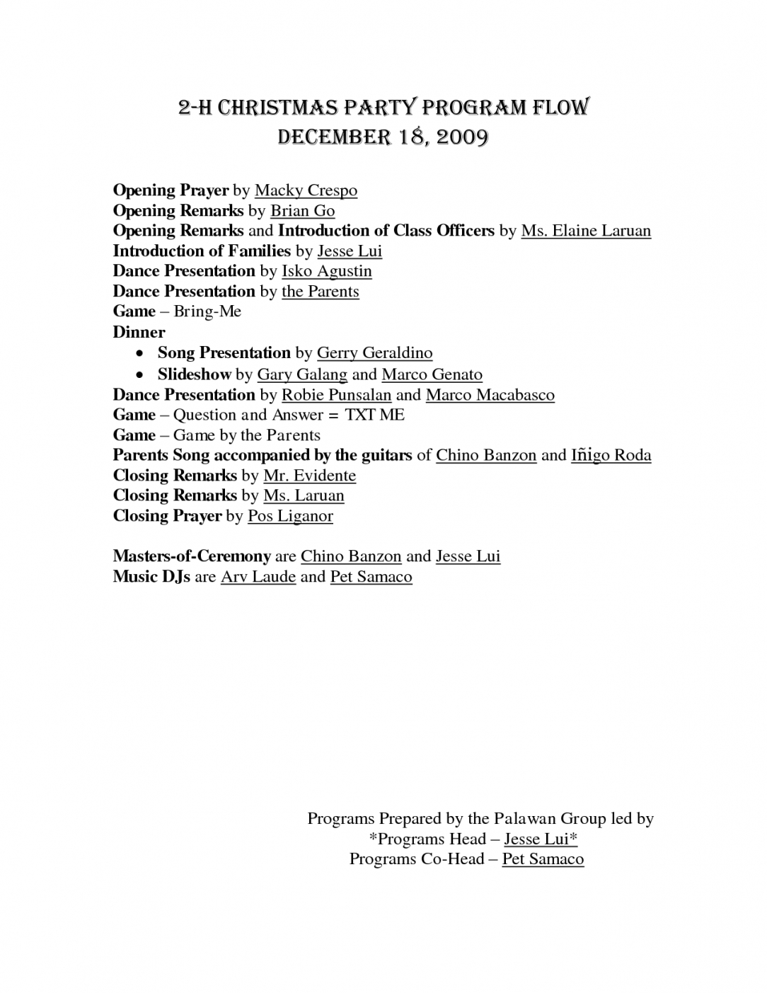 Christmas Party Itinerary Template – Kairoterrainsco Office Party Pertaining To Party Agenda Template