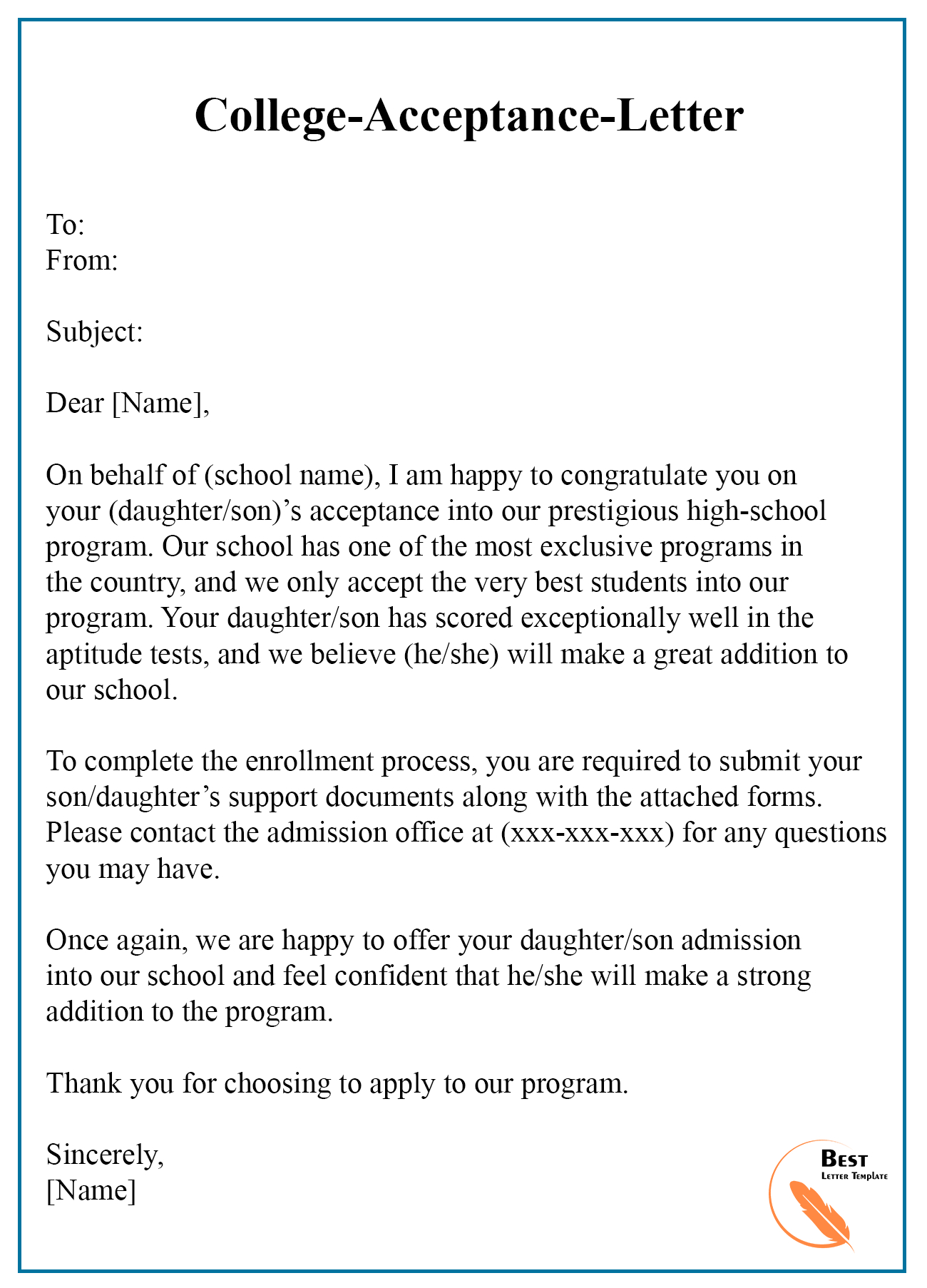 College Acceptance Letter Template – Format Sample  Examples Intended For College Acceptance Letter Template