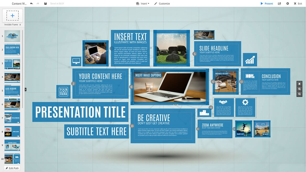 Content Wall Prezi Template  Prezibase Throughout Prezi Presentation Templates
