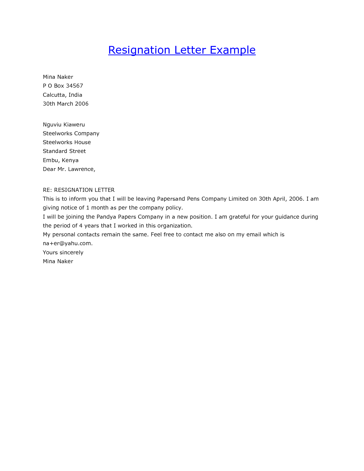 Copy Of Resignation Letter Examples – Guatemalago Throughout Standard Resignation Letter Template