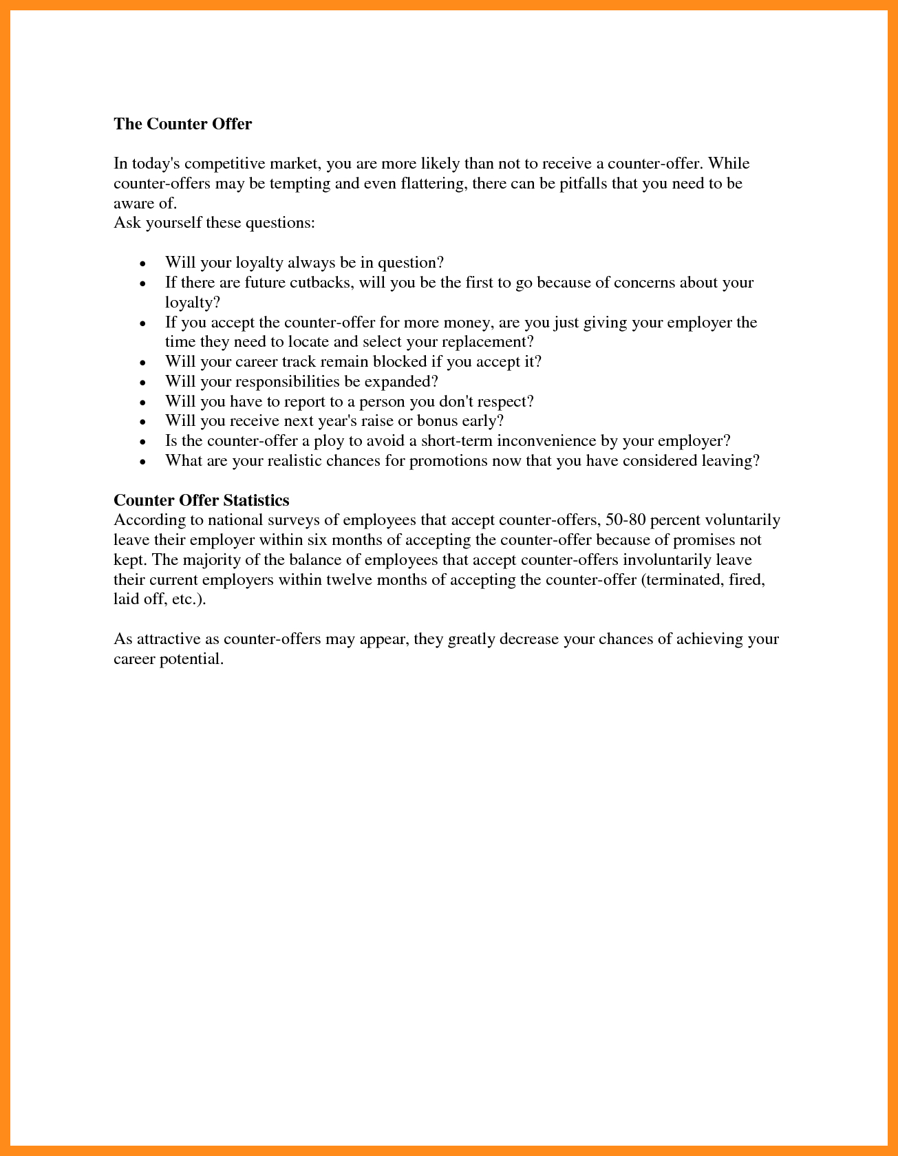 Counter Offer Letter Samples  Lascazuelasphilly Throughout Counter Offer Letter Template