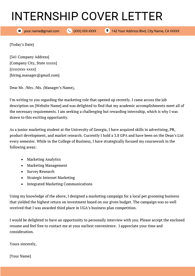 Cover Letter For Internship Example  Key Writing Tips  Resume Throughout Internship Cover Letter Template