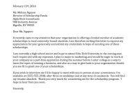 Cover Letter Sample For Scholarship Application regarding Scholarship Award Letter Template
