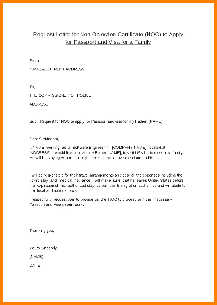 Doc Noc Certificate For Passport Objection Letter Job Search Cover Throughout Letter Of Objection Template
