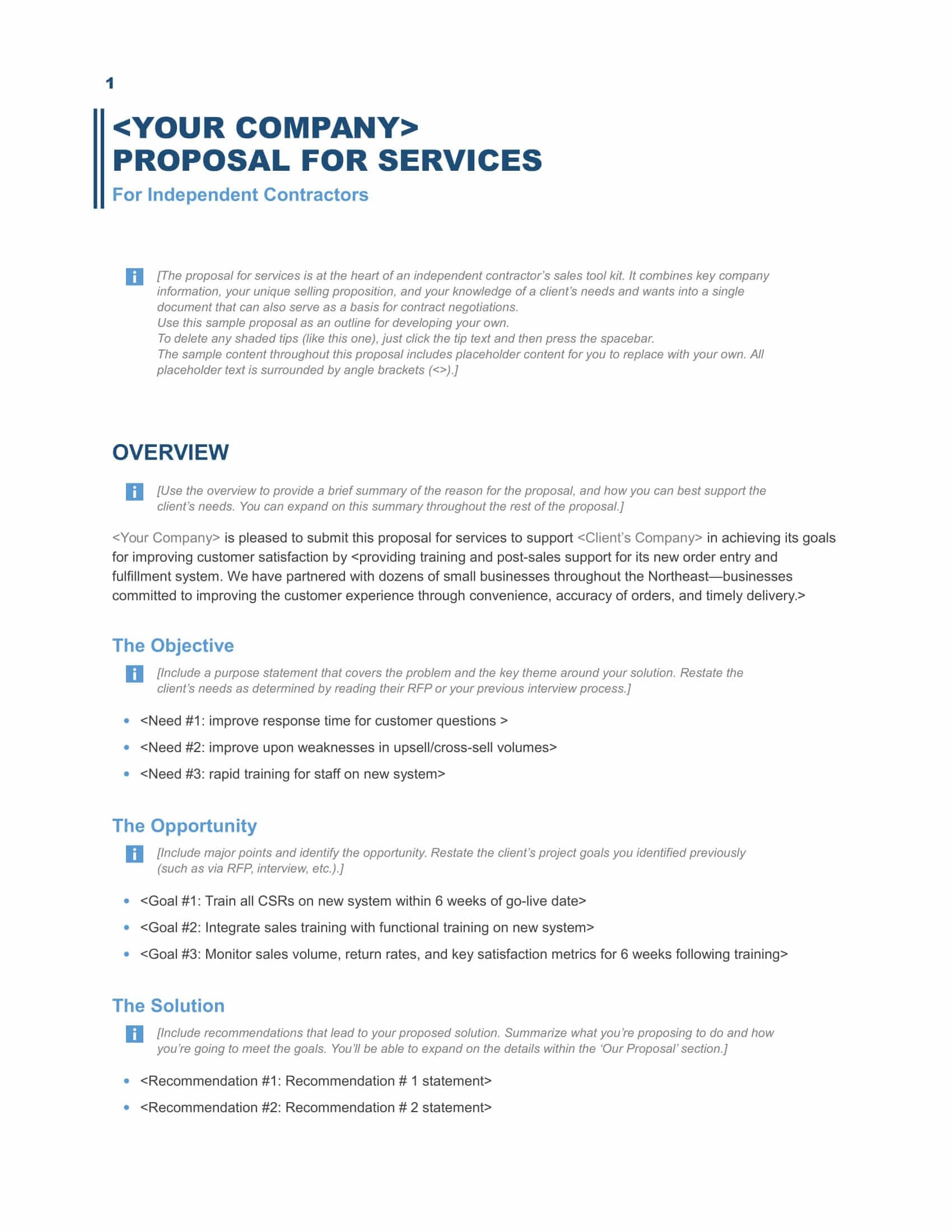 Download A Free Business Proposal Template  Formfactory With Unsolicited Proposal Template