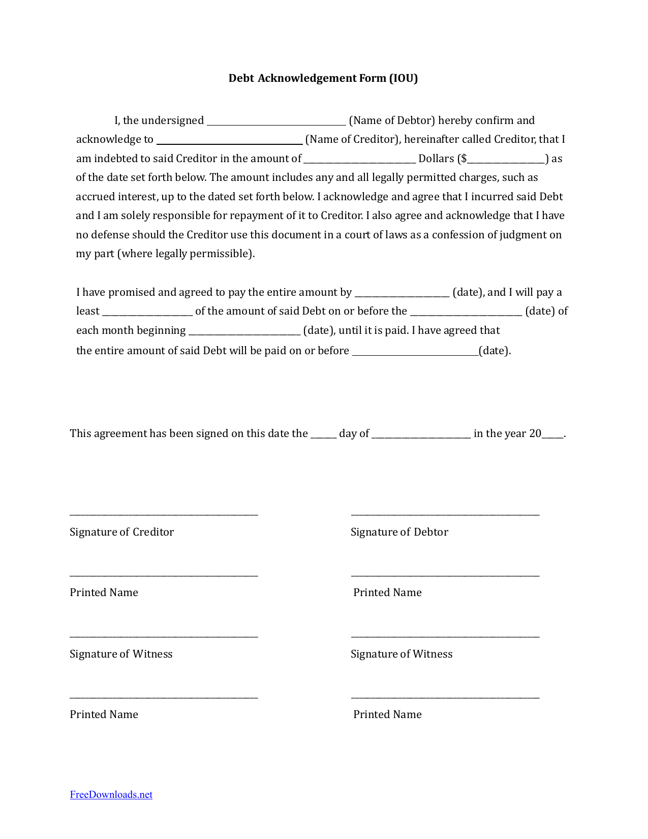 Download Iou I Owe You Debt Acknowledgment Form  Pdf  Rtf  Word With Regard To Iou Letter Template
