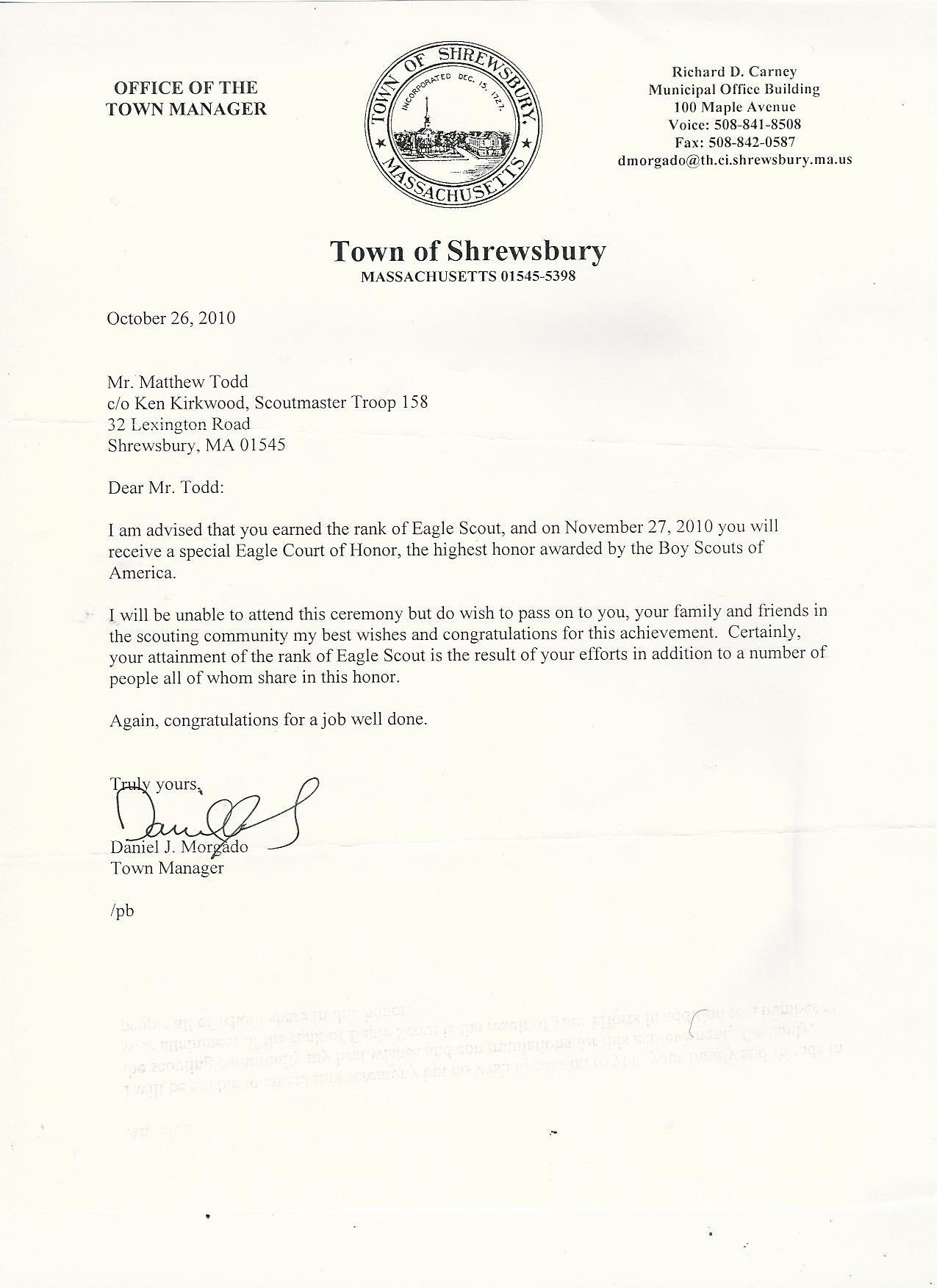 Eagle Scout Recommendation Letter Template Examples  Letter Templates Pertaining To Eagle Scout Recommendation Letter Template