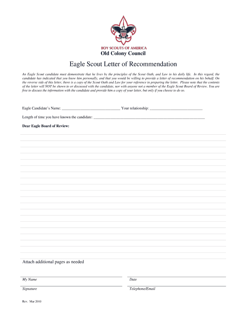Eagle Scout Reference Letter  Fill Online Printable Fillable Regarding Letter Of Recommendation For Eagle Scout Template