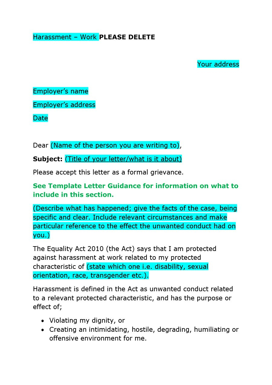 Editable Grievance Letters Tips  Free Samples ᐅ Template Lab For Formal Letter Of Complaint To Employer Template