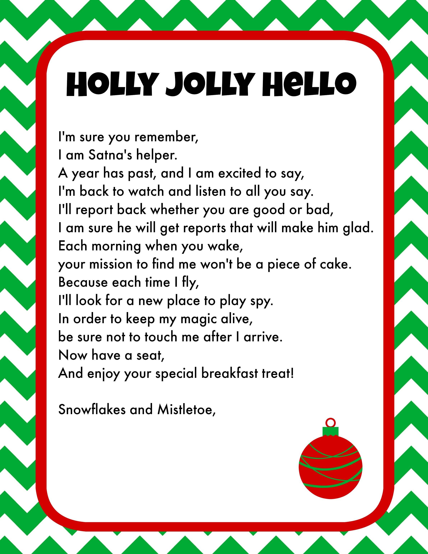 Elf On The Shelf Breakfast Ideas Printable Letter  Christmas Pjs For Elf On The Shelf Arrival Letter Template