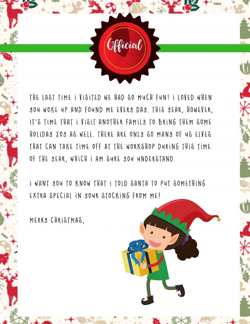 Elf On The Shelf Goodbye Letter  Free Printable For Goodbye Letter From Elf On The Shelf Template