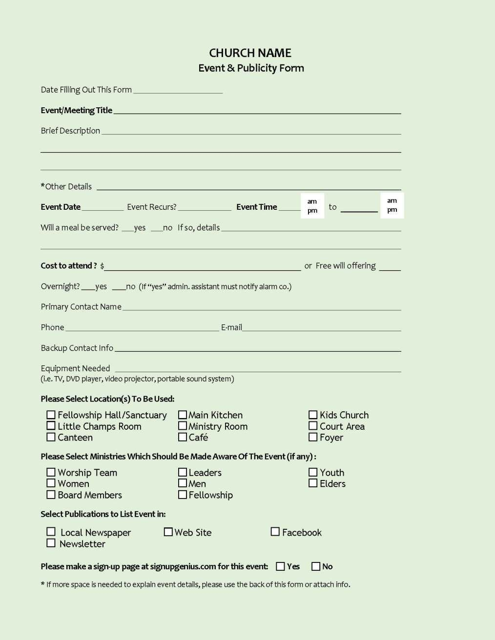 Event Publicity Form  Shahdat  Event Planning Checklist Event Inside Ministry Proposal Template