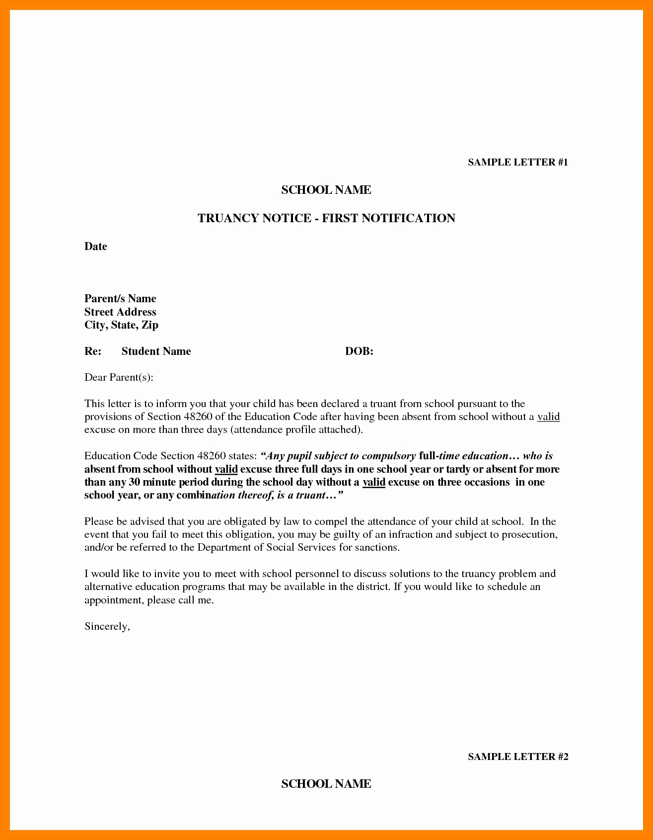 Example Of Absence Letter For Student  Penn Working Papers Throughout Truancy Letter Template