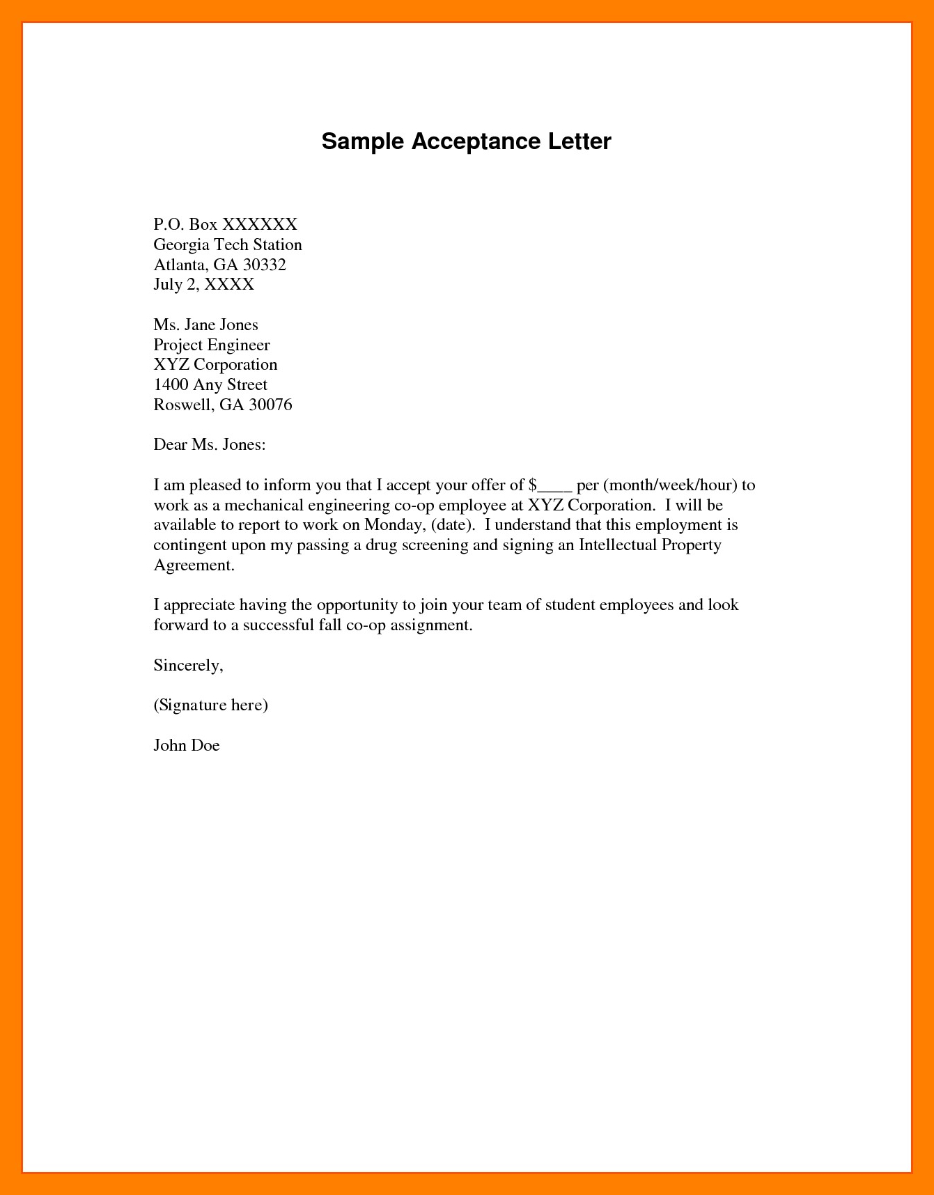 Example Of Acceptance Letter  Penn Working Papers Intended For College Acceptance Letter Template