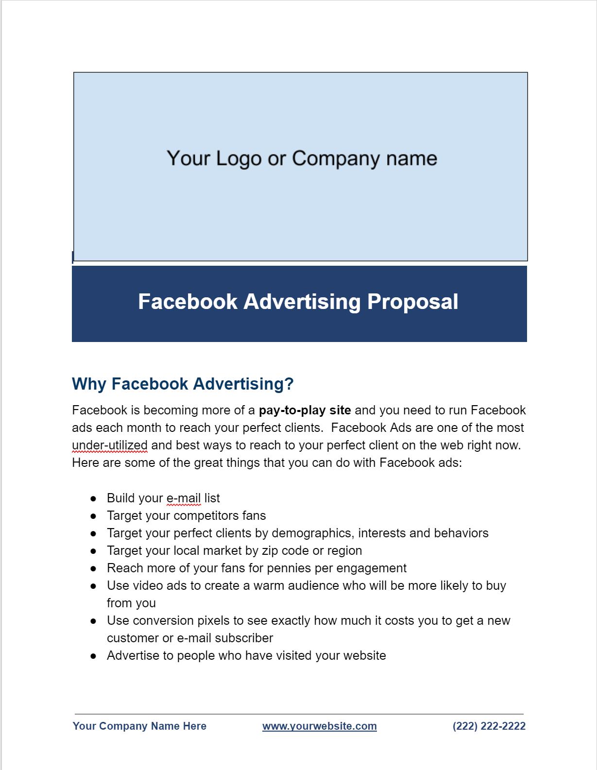 Facebook Ads Proposal Template  Facebook Advertising Secrets Inside Advertising Proposal Template
