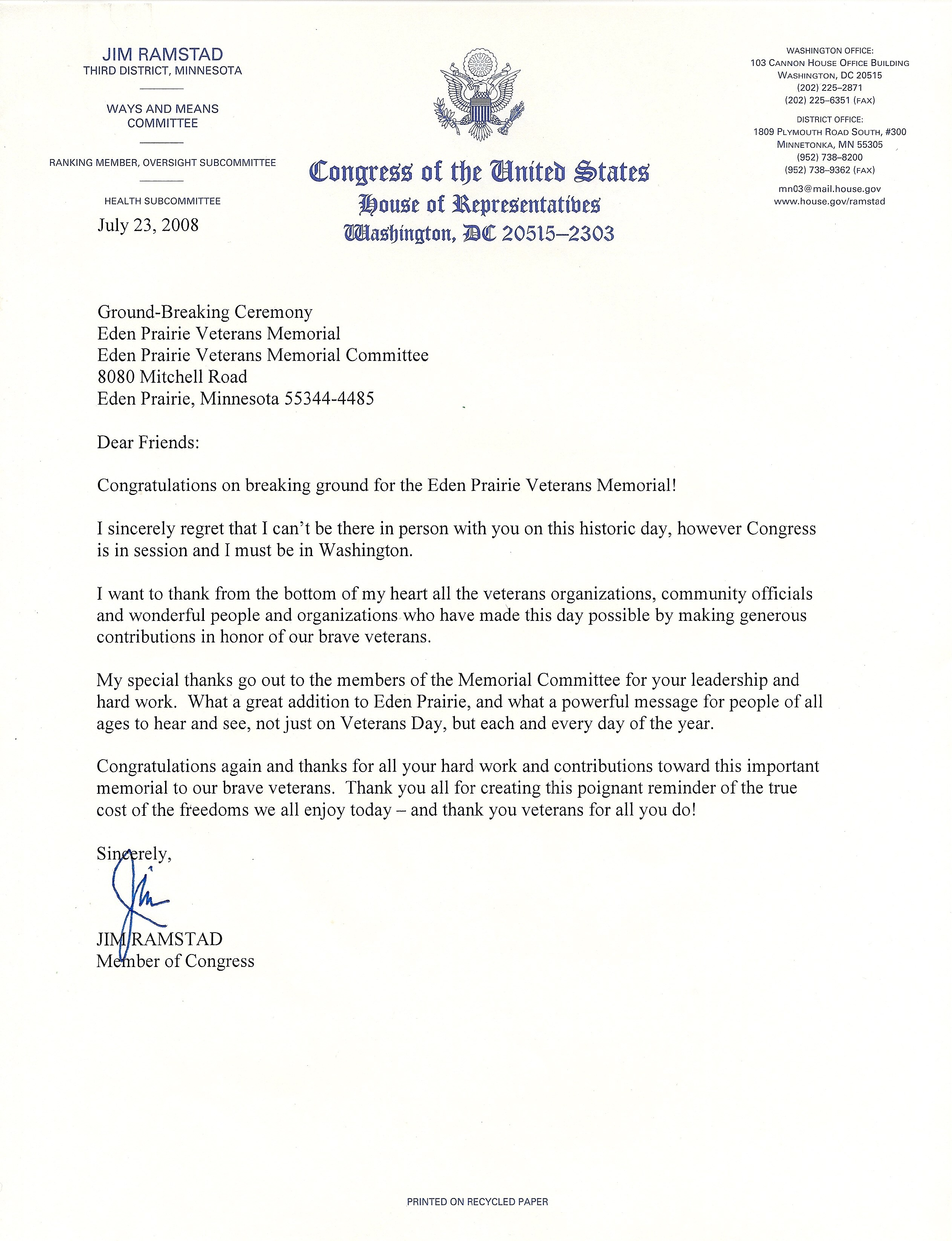 Filecongressman Ramstad Letter  Wikipedia For Letter To Congressman Template