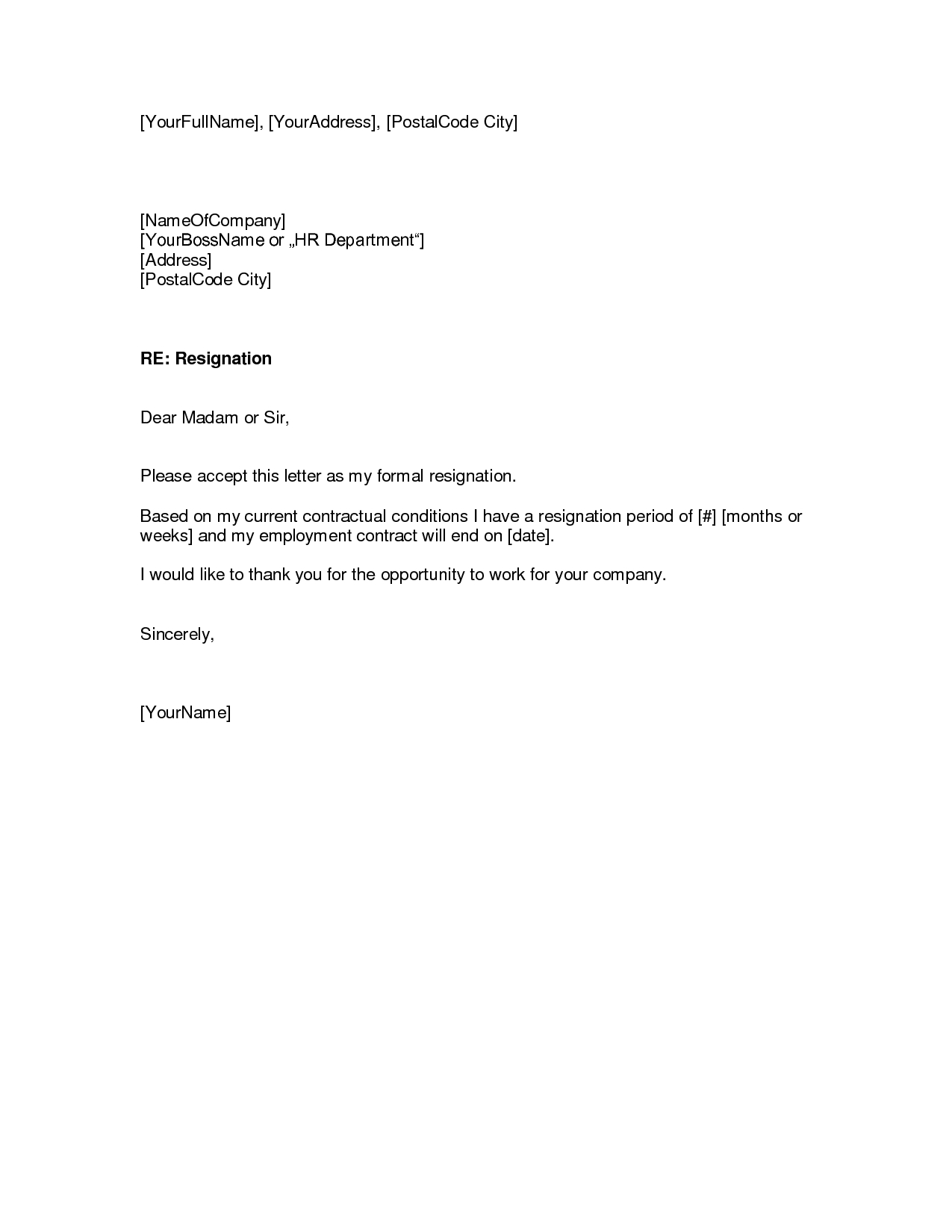 Free Download Resignation Letterwriting A Letter Of Resignation Intended For Free Sample Letter Of Resignation Template