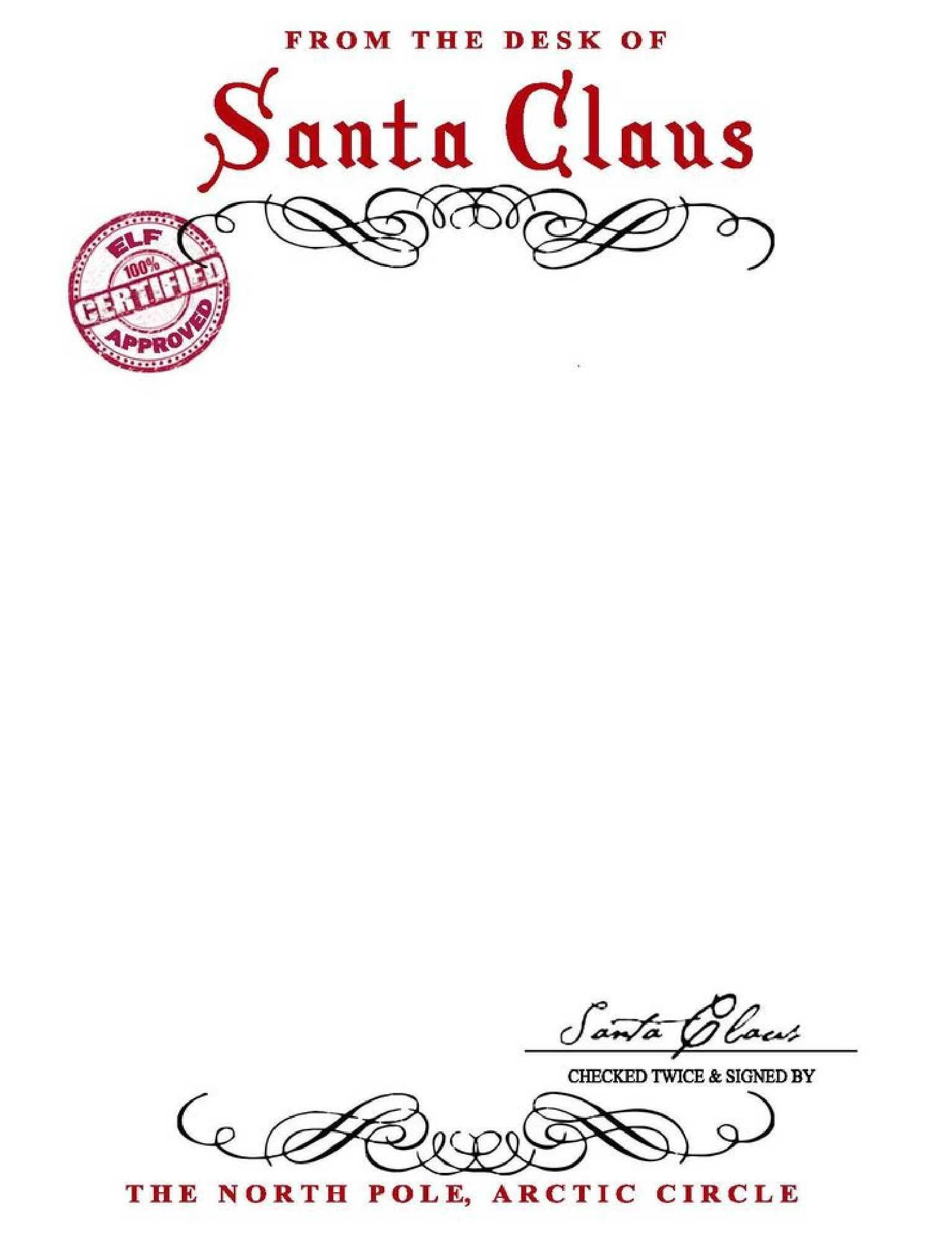 Free From Santa Letter With Santa Signature  You Can Save As A Pdf In Secret Santa Letter Template