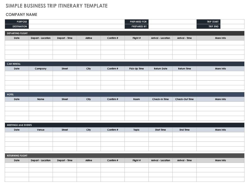 Free Itinerary Templates  Smartsheet Regarding Travel Agenda Template