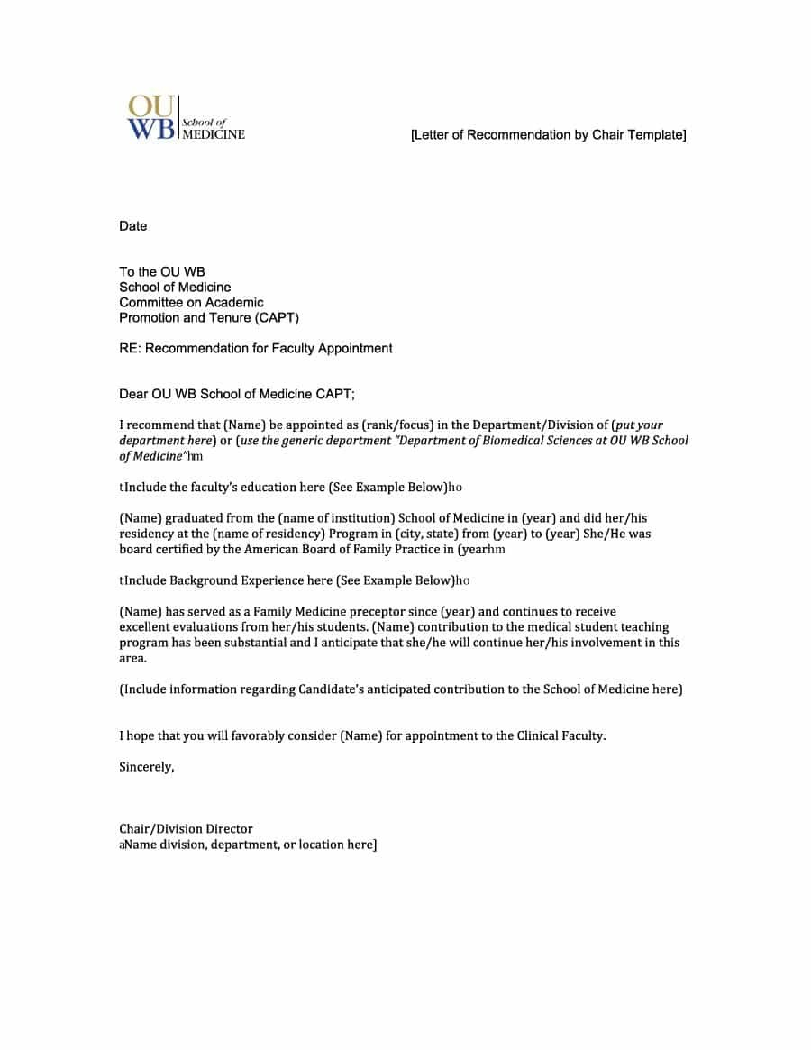 Free Letter Of Recommendation Templates  Samples In Letter Of Recomendation Template