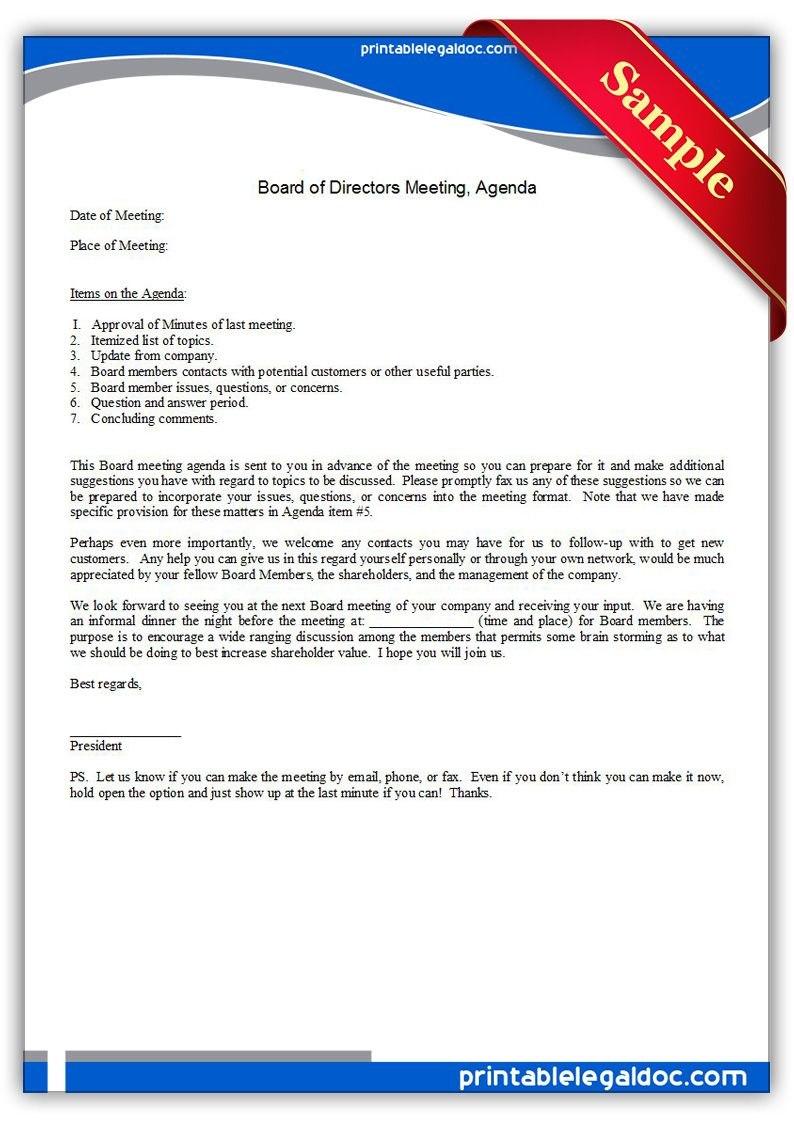 Free Printable Board Of Directors Meeting Agenda  Sample Printable Throughout Board Of Directors Meeting Agenda Template
