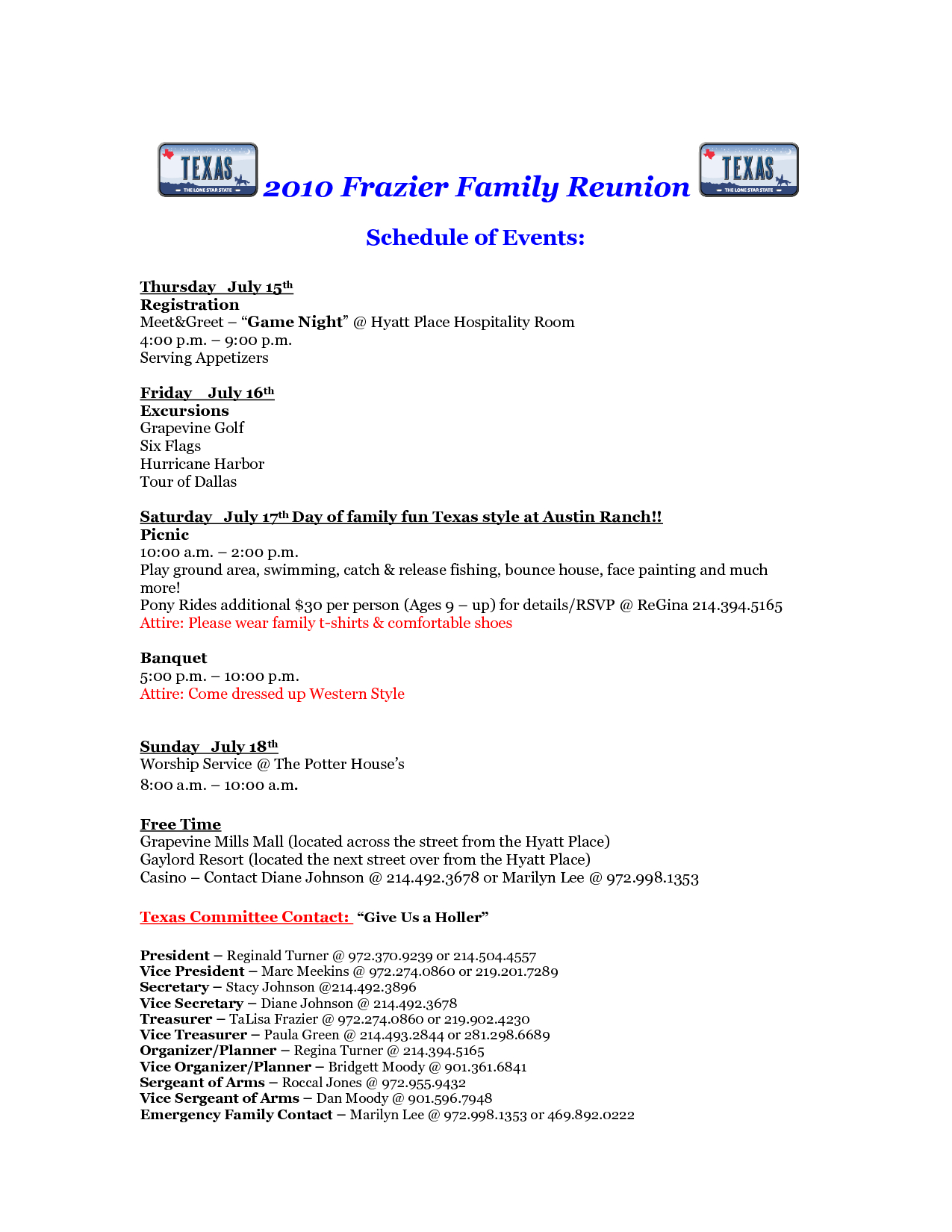 Free Printable Family Reunion Letters   Frazier Family Reunion For Family Reunion Letter Template