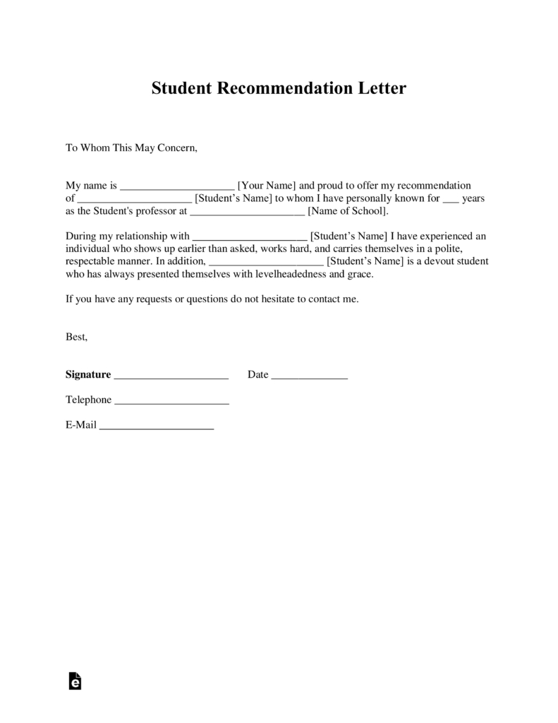 Free Student Recommendation Letter Template  With Samples  Pdf Within Letter Of Rec Template