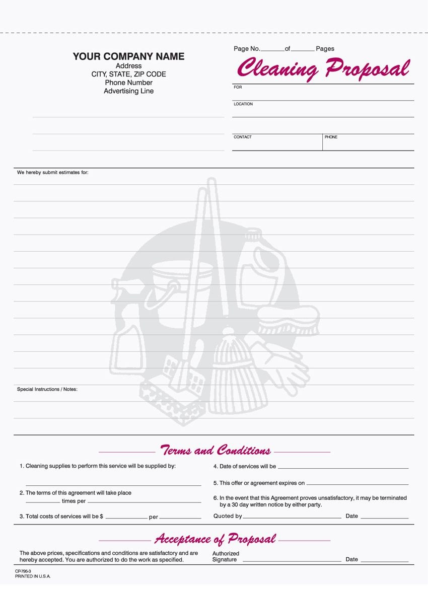 Freeprintablecleaningproposalforms  Monthly Budget  Cleaning In Free Cleaning Proposal Template