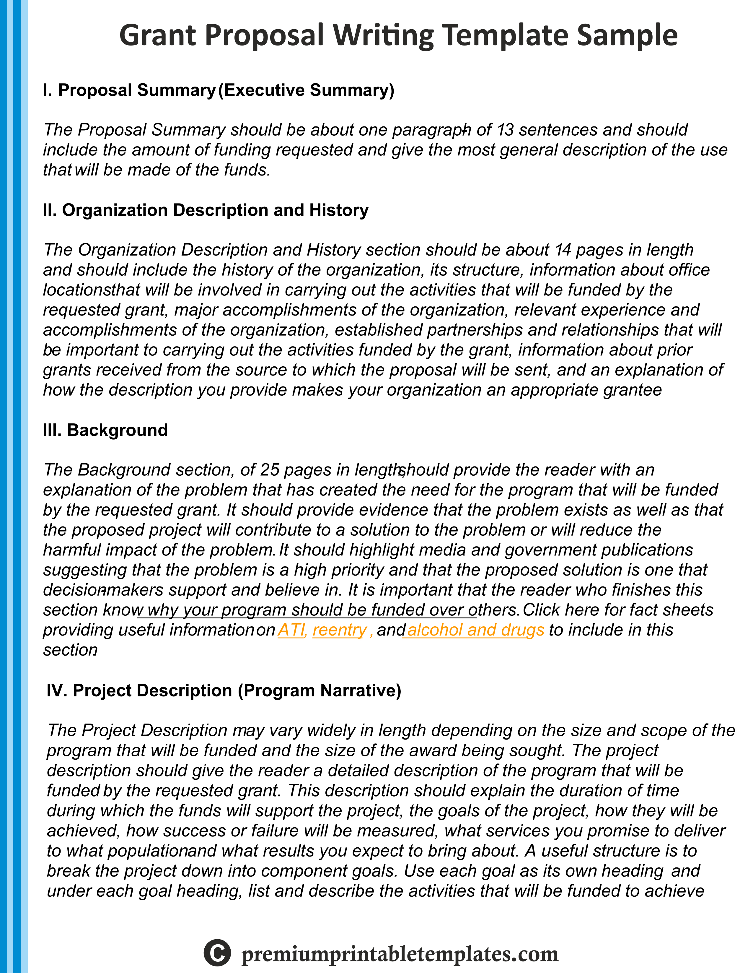 Grant Writing Proposal Sample Template  Grant Writing Proposal For Writing A Grant Proposal Template