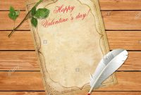 Happy Valentines Day Template With Space For Text Old Vintage Paper intended for Olden Day Letter Template