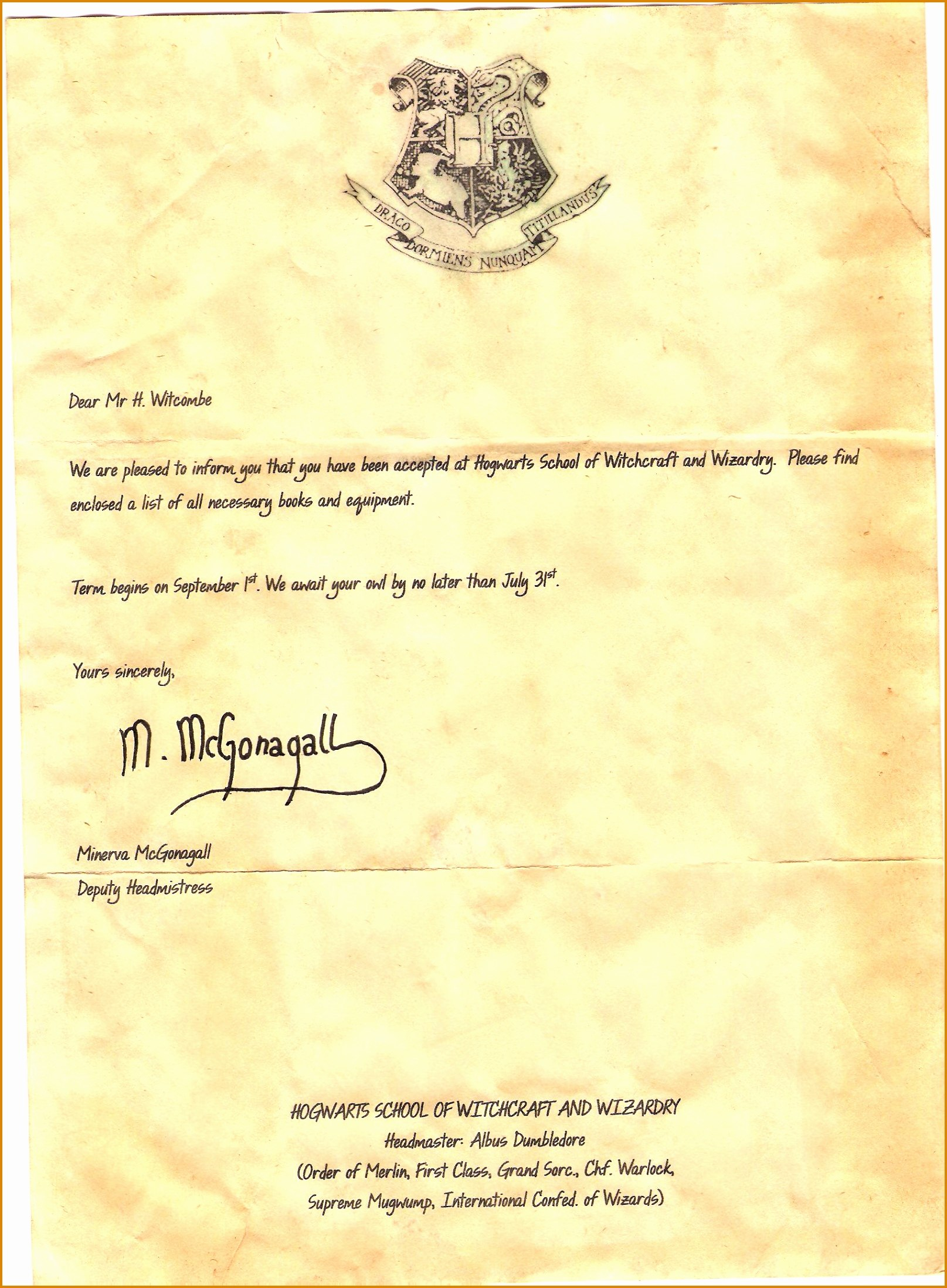 Hogwarts Acceptance Letter Template Pdf  Contesting Wiki Within Harry Potter Acceptance Letter Template