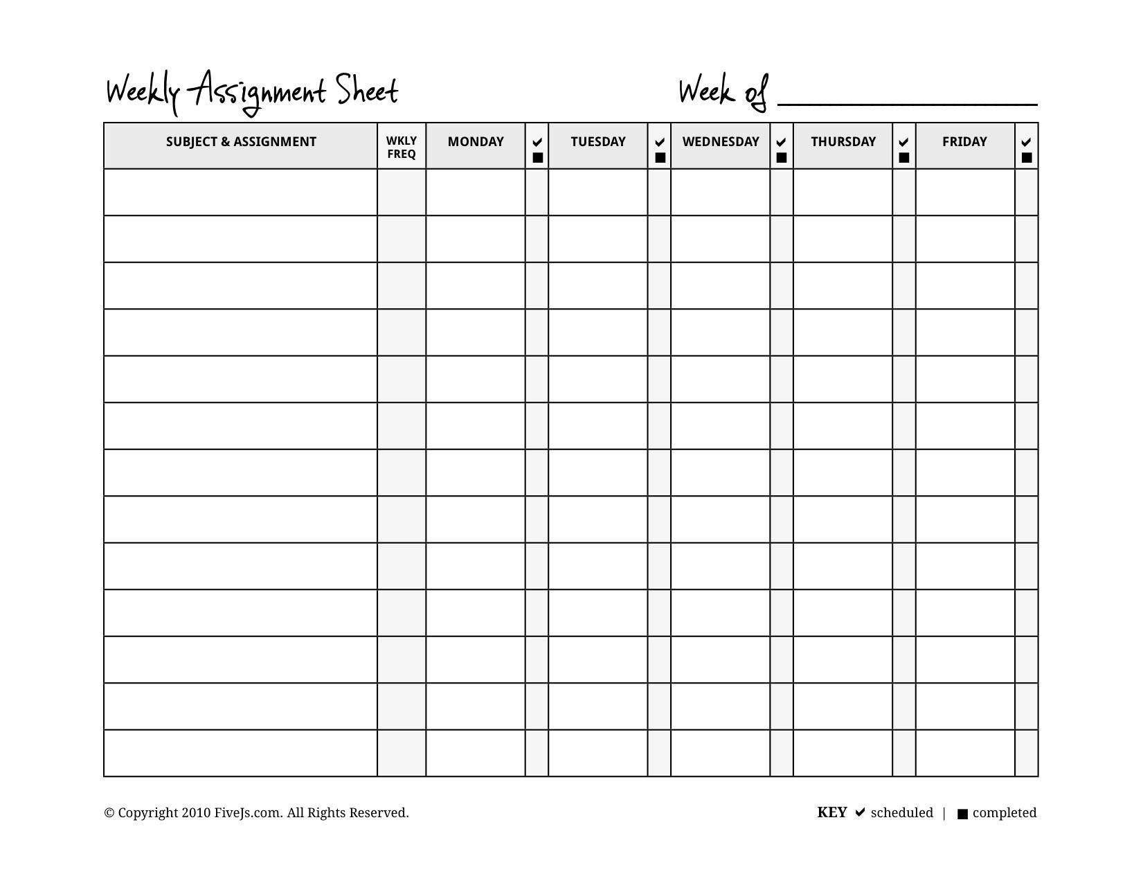Homeschool Weekly Assignment Planner  A Counselor I Will Always Be Inside Homework Agenda Template