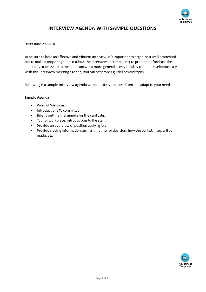 Hr Candidate Interview Agenda With Sample Questions  Templates Within Interview Agenda Template