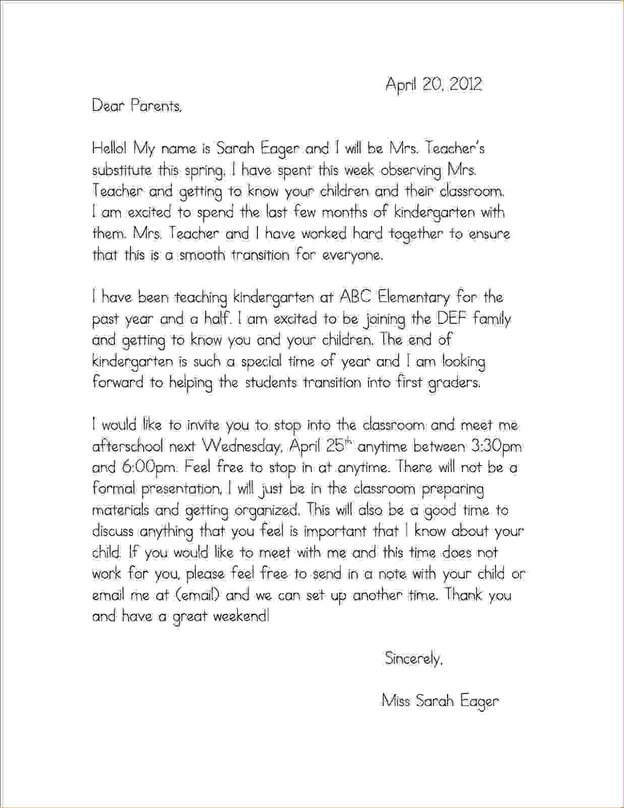 Image Result For Introduction Letter To Parents From Preschool In Letter To Parents Template From Teachers