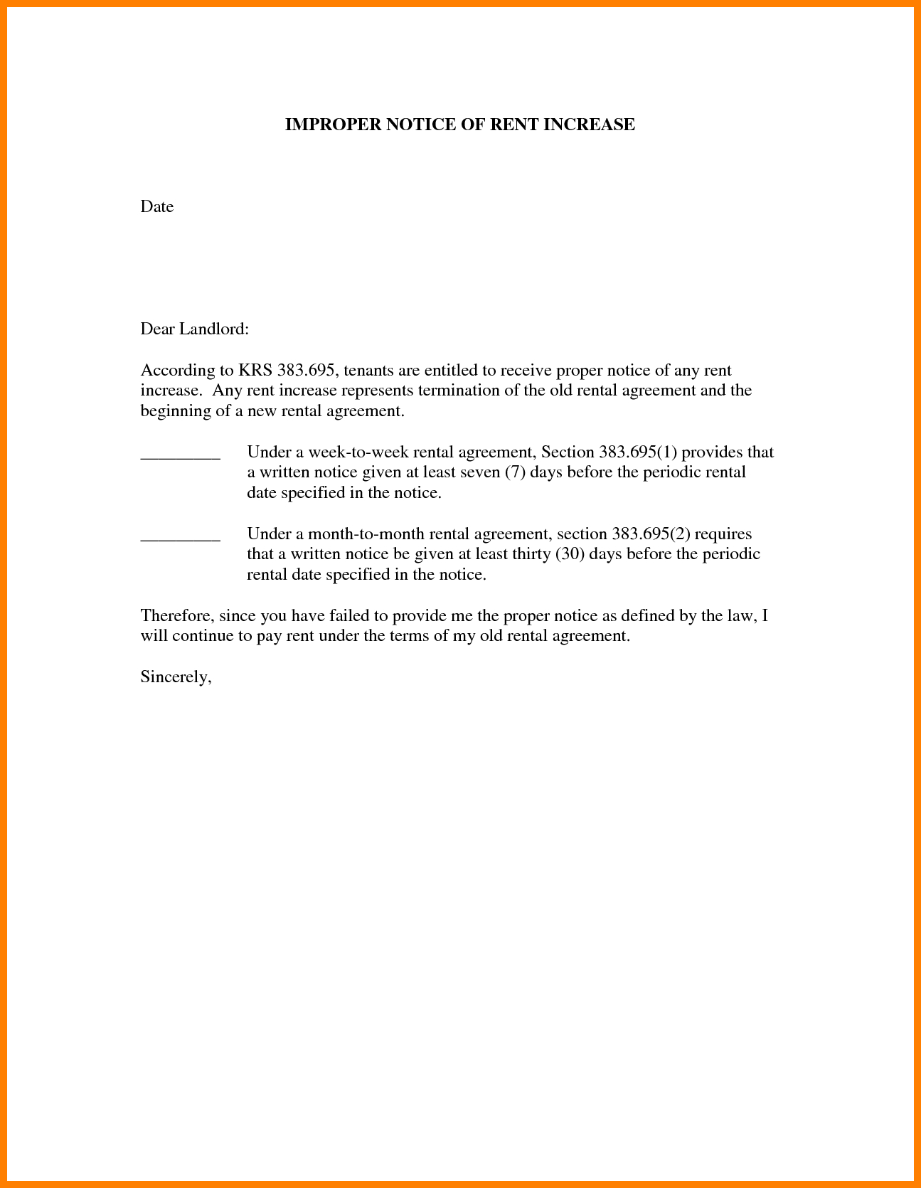 Images Of  Days Sample Rent Increase Letter Template  Unemeuf Intended For Rent Increase Letter Template
