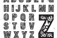 Initial Monogram Letters Laser Cut Template Stockvektorgrafik regarding Fancy Alphabet Letter Templates