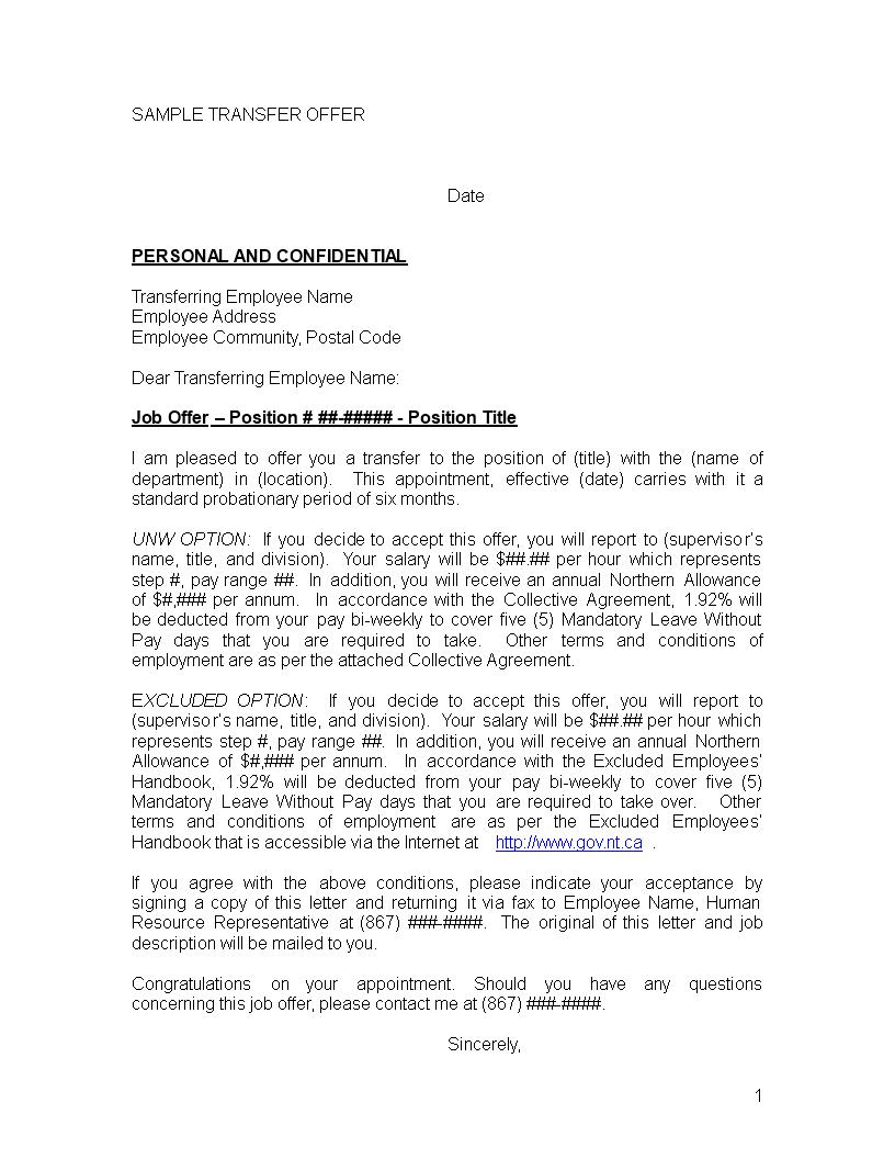 Internal Job Transfer Letter  Templates At Allbusinesstemplates With Internal Transfer Letter Template