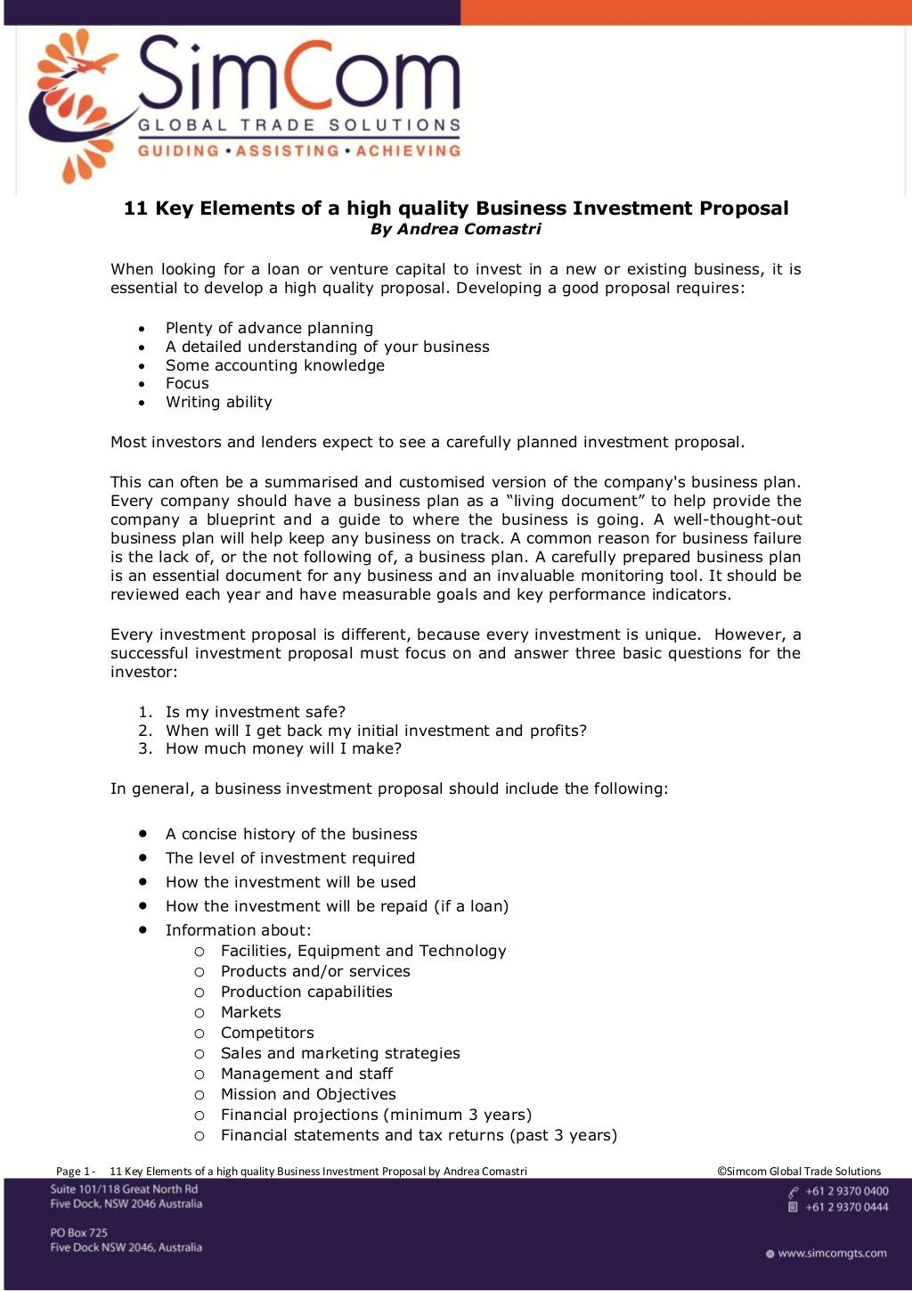 Key Elements Of A High Quality Business Investment Proposal Regarding Investor Proposal Template