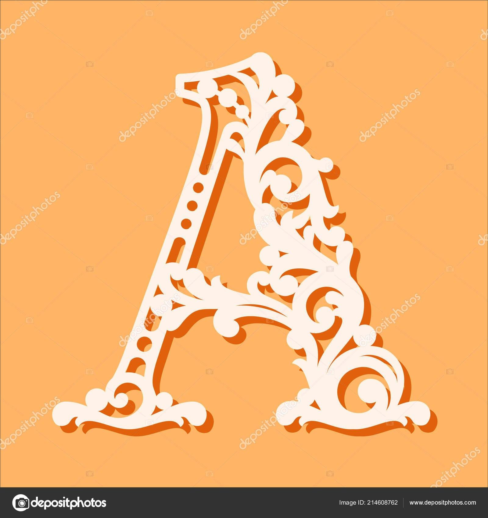 Laser Cut Template Initial Monogram Letters Fancy Floral Alphabet Pertaining To Fancy Alphabet Letter Templates