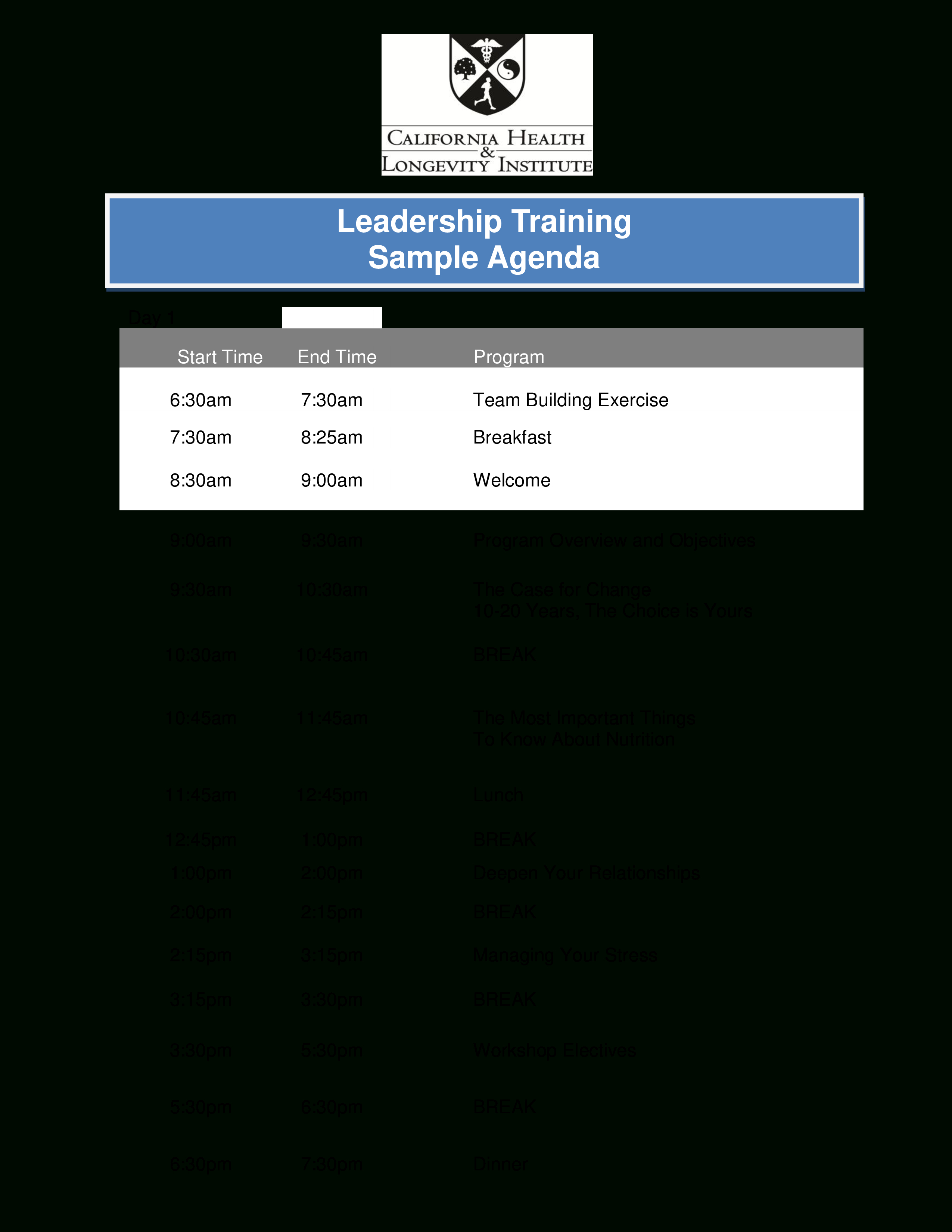 Leadership Training Agenda  Templates At Allbusinesstemplates Within Training Agenda Template
