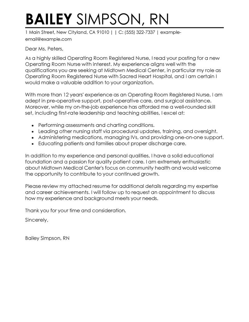 Leading Professional Operating Room Registered Nurse Cover Letter Intended For Rn Cover Letter Template