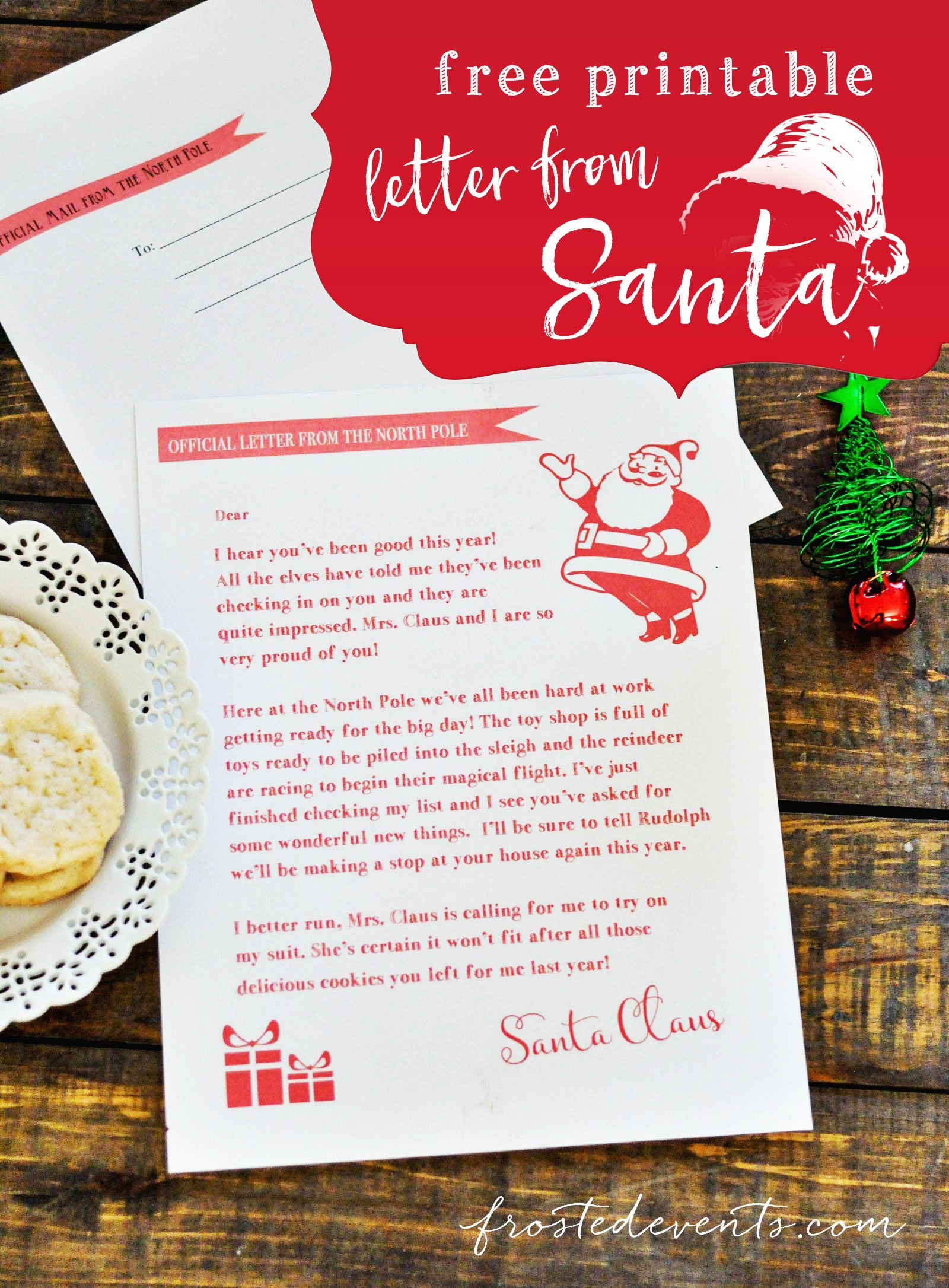 Letter From Santa  Free Printable With Regard To Free Letters From Santa Template