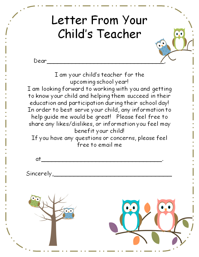 Letter From Teacher To Parents Editable  Teaching  Parents As In Letters To Parents From Teachers Templates