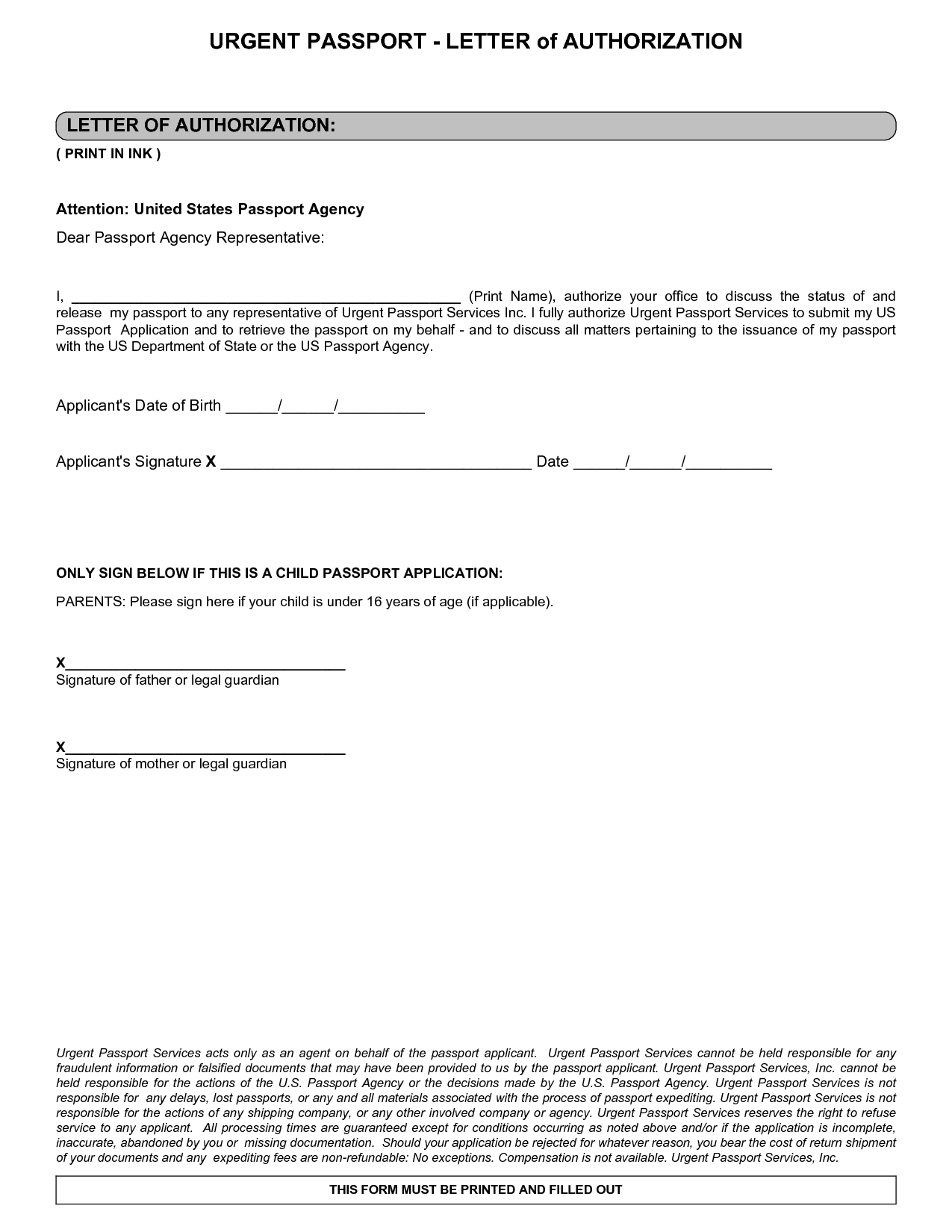 Letter Notarized Parental Authorization Sample Receive Passport For Notarized Letter Template For Child Travel