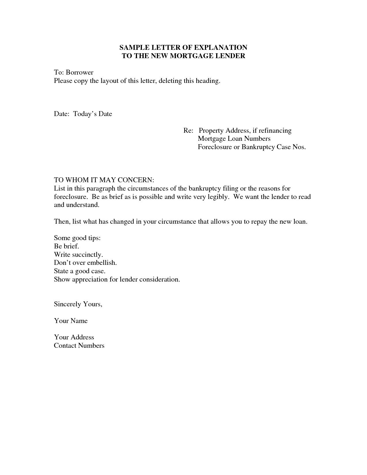 Letter Of Explanation For Mortgage Word Template Examples  Letter With Regard To Mortgage Letter Templates