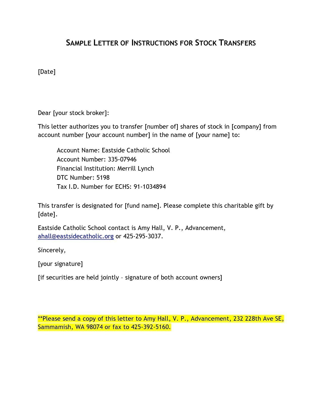 Letter Of Instruction Template Stock Transfer Collection  Letter For Letter Of Instruction Template