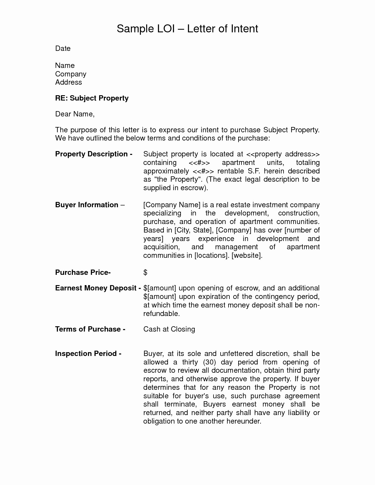 Letter Of Intent To Purchase Real Estate Template Examples  Letter Pertaining To Letter Of Intent For Real Estate Purchase Template