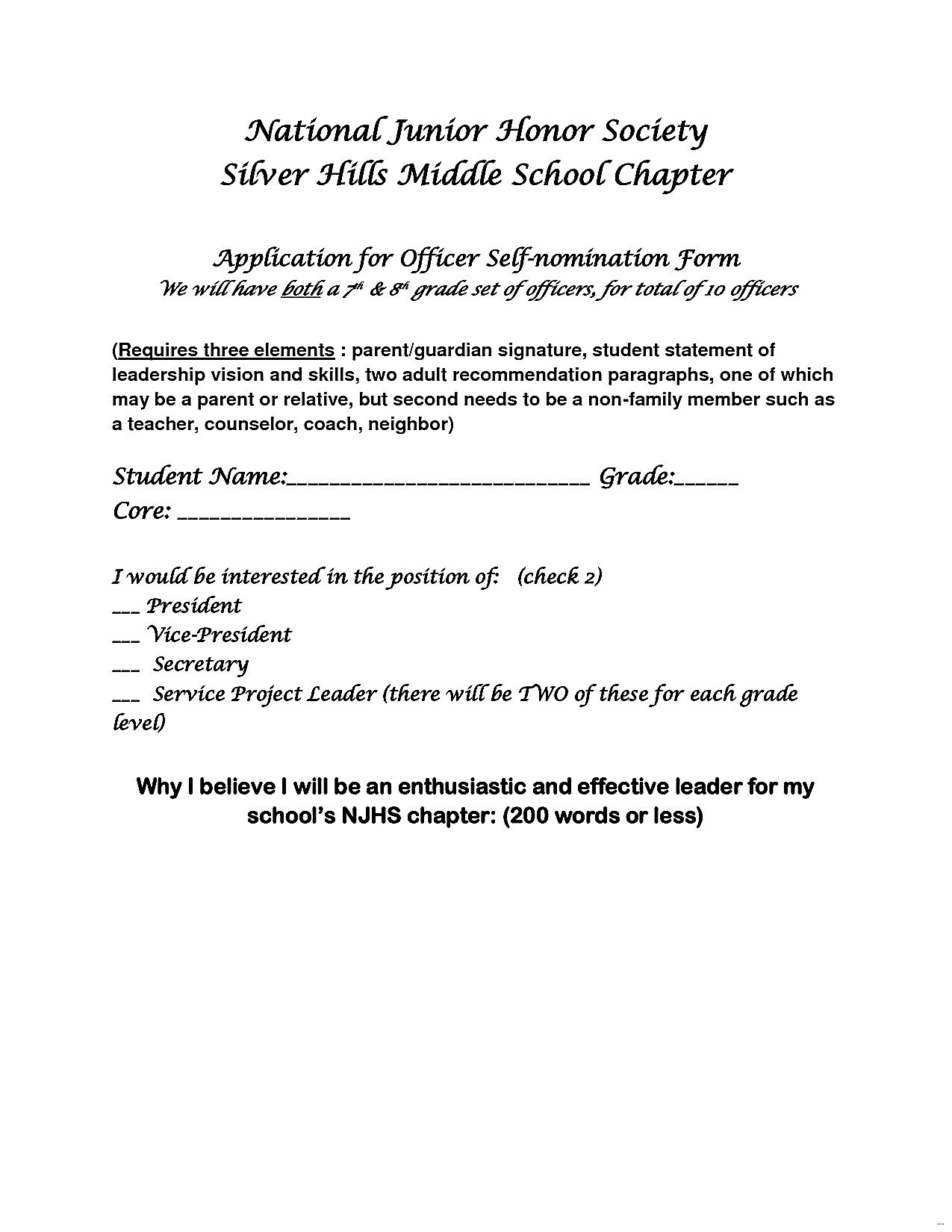 Letter Of Recommendation Templates Template Ideas National Inside National Junior Honor Society Letter Of Recommendation Template