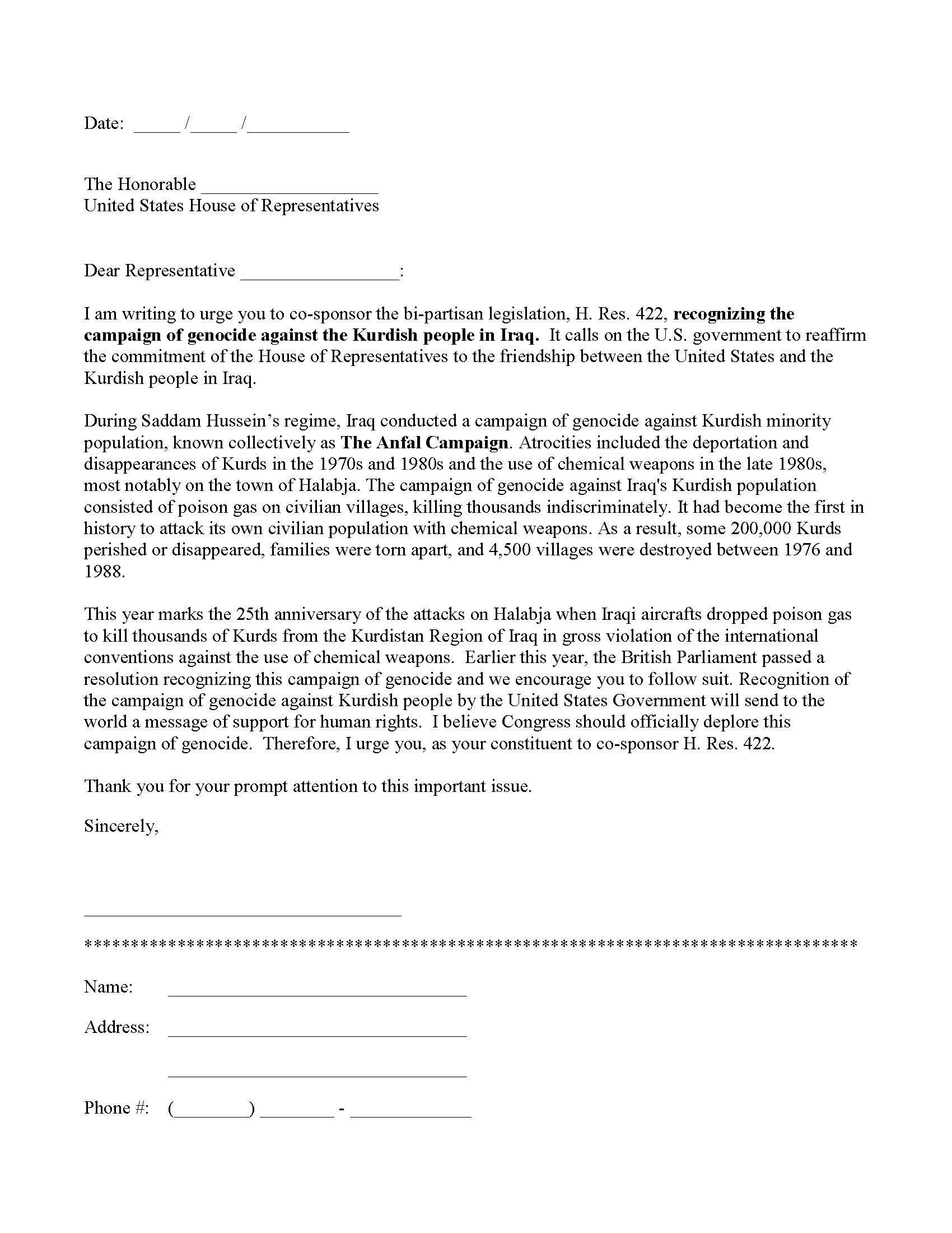 Letter To Congressman Template Samples  Letter Template Collection Pertaining To Letter To Congressman Template